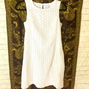 Alfred Sung cotton white eyelet dress